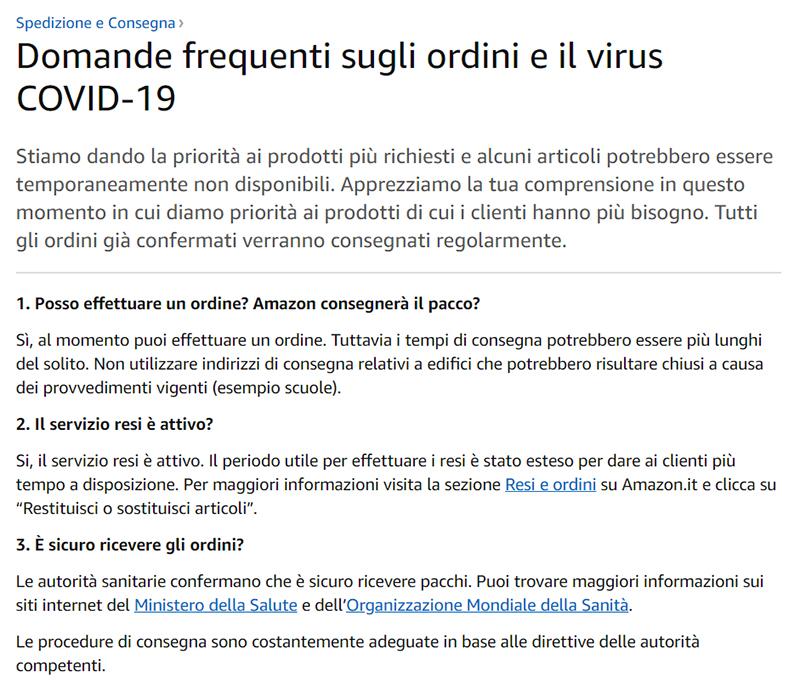 Amazon.itのヘルプページ(コロナウイルス関連の特記)