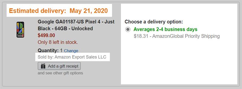 Amazon.comでの発送オプション選択画面