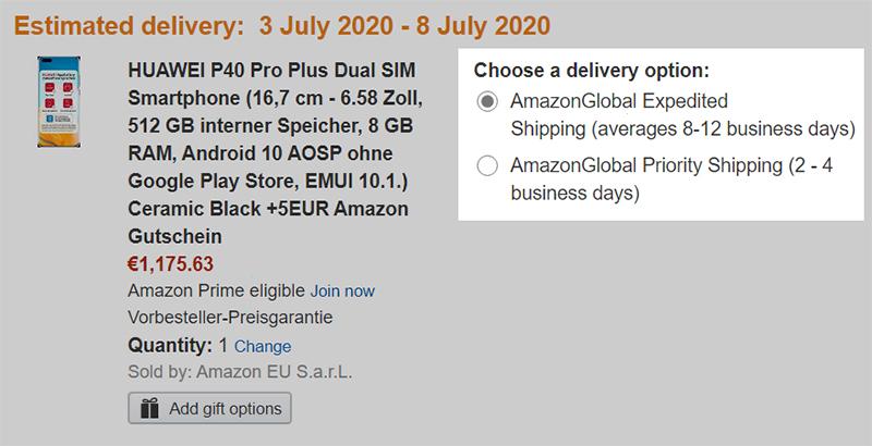 Amazon.deの注文内容の確認画面