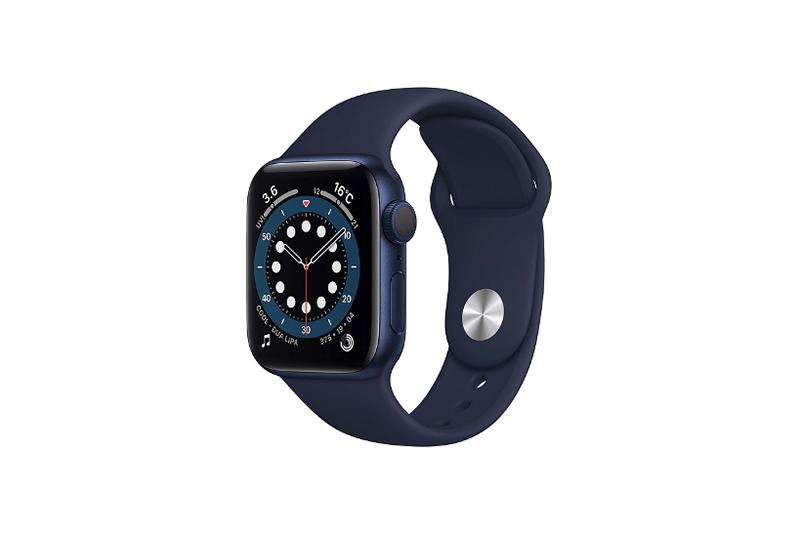 Apple Watch Series 6 GPSモデル ブルーアルミニウムケースとディープネイビースポーツバンド