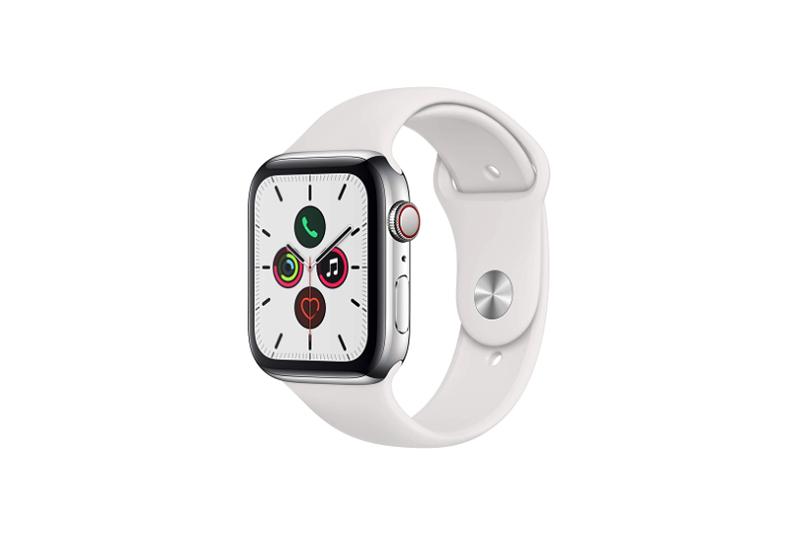 Apple Watch Series 5 GPS+Cellularモデル シルバーステンレススチールケースとホワイトスポーツバンド